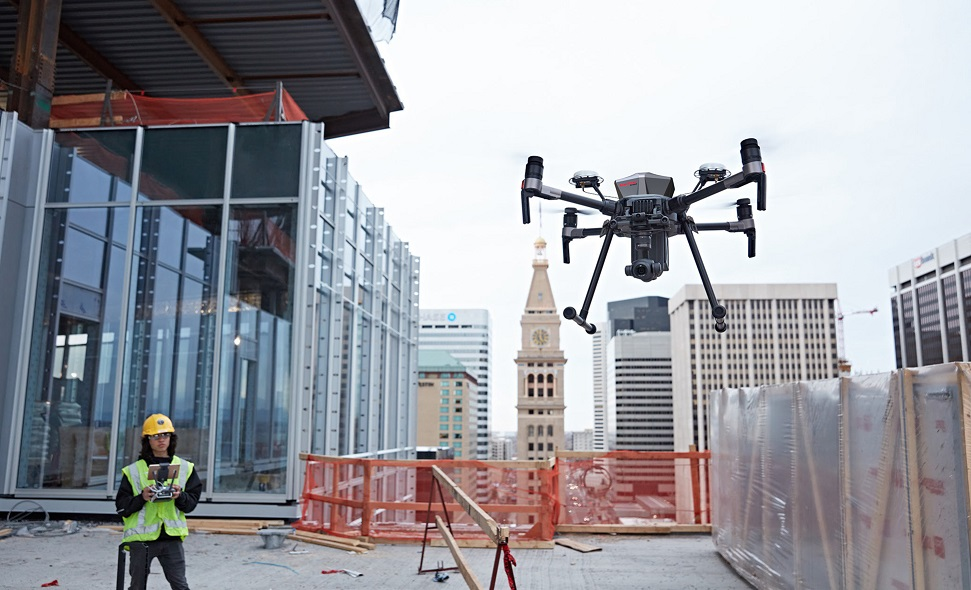 Matrice 200 Drone with SafeAir system in construction site
